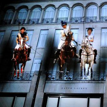 The display appeared to show horses riding through the Ralph Lauren store-front on London's New Bond Street