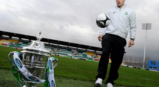 Shamrock Rovers captain Stephen Rice pictured alongside the FAI Cup trophy ahead of Sunday's final. Photo: Brian Lawless / Sportsfile