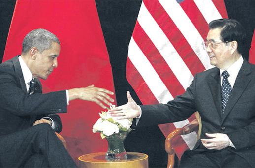 US President Barack Obama meets China's President Hu Jintao as part of the G20 Summit in Seoul, Korea yesterday