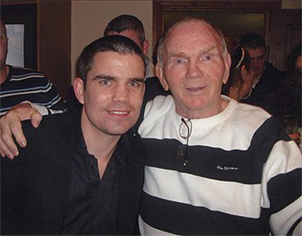 Bernard Dunne (left), in Francis Kelly's shebeen, Southill, Limerick, with local resident Tom Sheedy