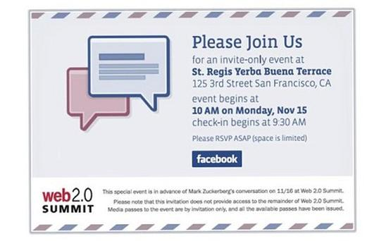 Facebook's invite to their Monday event uses its messaging icons