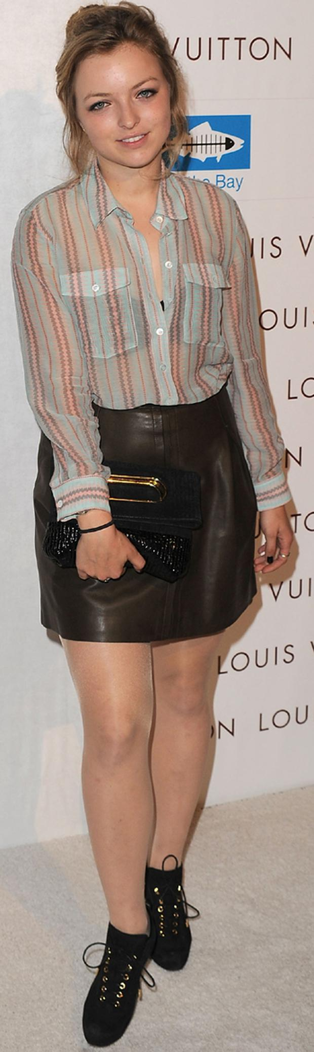 Celebrity Francesca Eastwood wore this sheer shirt with pale hues recently, teamed with a leather skirt for a rockier edge. Photo: Getty Images