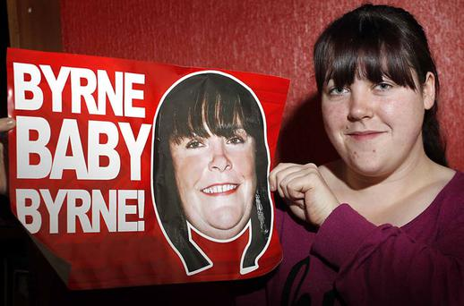 Mary Byrne's daughter Deborah showing her suport. Photo:CO;R