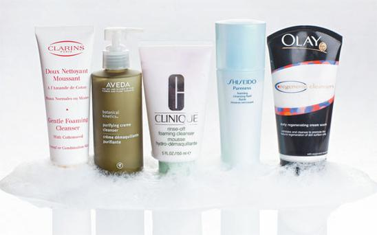 Pictured, from left: Clarins Gentle Foaming Cleanser; Aveda Botanical Kinetics Purifying Creme Cleanser; Clinique Rinse-Off Foaming Cleanser; Shiseido Pureness Foaming Cleanser; Olay Regenerist Daily Regenerating Cream Wash