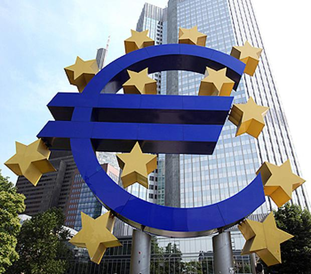 A giant monument to the Euro can be seen outside the headquarters of the European Central Bank (ECB) in Frankfurt, Germany. Photo: Getty Images