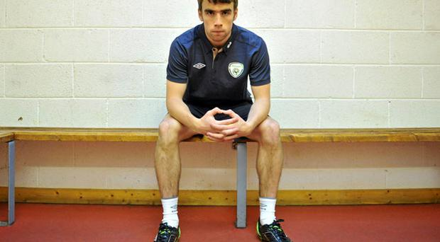Seamus Coleman in pensive mood after training yesterday as he looks forward to making his full international debut against Norway tomorrow. Photo: David Maher / Sportsfile