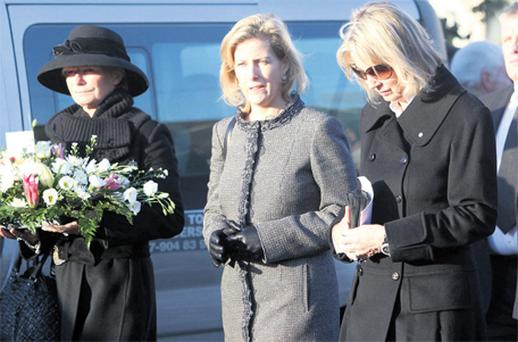 Countess of Wessex Sophie Rhys-Jones (middle) attends the funeral of antique dealer and property developer Ned Ryan