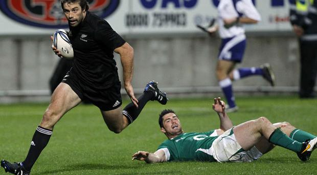 Conrad Smith – pictured scoring against Ireland in New Plymouth last June – was speaking to Irish Independent behalf of adidas - official partner of the All Blacks. Photo: Reuters