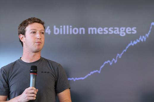 Mark Zuckeberg unveils the 'next generation messaging system', which will allow users to have an @facebook.com email address. Photo: Getty Images
