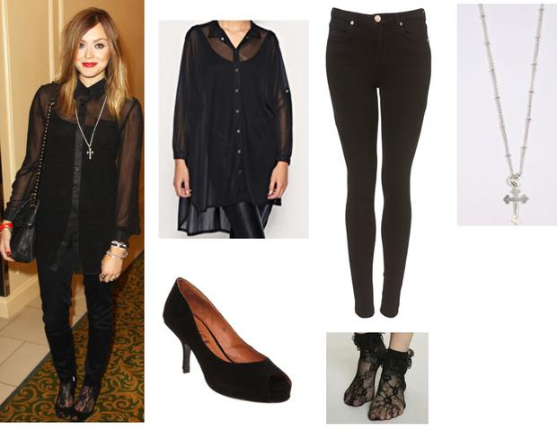 Black sheer shirt £60 asos.com; Black skinny jeans Topshop €46; Cross necklace €14 urbanoutfitters; Peeptoe black shoes £72 Office.co.uk; Lace socks €7 Urban Outfitters