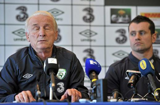 Ireland's stand-in captain Shay Given looks on as Giovanni Trapattoni appears lost in thought at yesterday's press conference at the Grand Hotel in Malahide. Photo: David Maher / Sportsfile