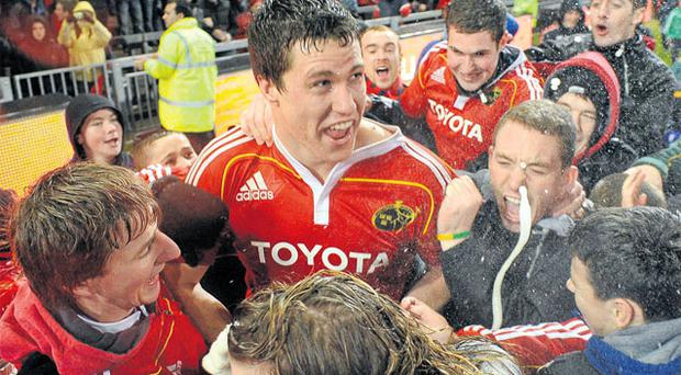Munster's Ian Nagle is mobbed by supporters after last night's dramatic victory. Photo: Diarmuid Greene / Sportsfile