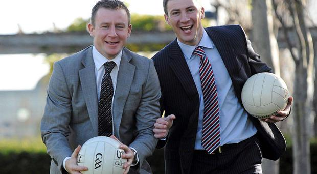 The Gaelic Players Association and DCU Business School have announced that Laois manager and former Armagh footballer Justin McNulty, left, and former Dublin captain Colin Moran, have been granted scholarship places on the prestigious Executive MBA Programme as part of a GPA initiative. Photo: Brian Lawless / Sportsfile
