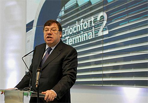 Taoiseach Brian Cowen speaks at the opening of Dublin Airport's Terminal 2. Photo: PA