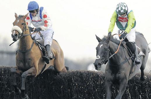 What A Friend and Sam Thomas (left) finishing second to Denman at Newbury last season - the pair can go one better today