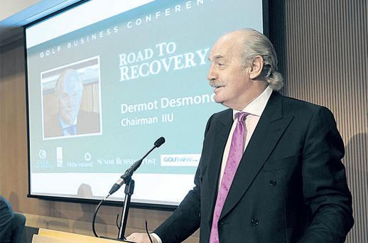 Dermot Desmond, addressing the Golf Business Conference at the National Conference Centre yesterday, said Ireland should