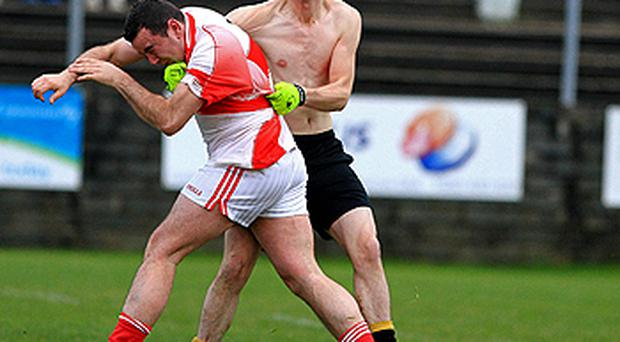 Tempers flare during the Wicklow Division 4 final between Tinahely (red and white) and Avoca in Arklow