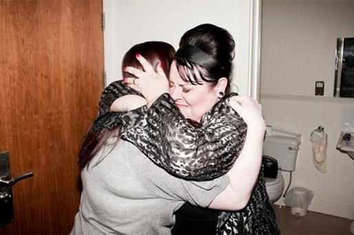 An emotional Mary Byrne greets her daughter Deborah, who was flown in by Westlife just one hour before she was due onstage
