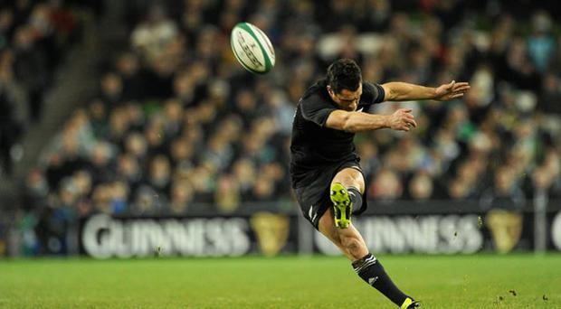 Dan Carter kicks another penalty for New Zealand at the Aviva Stadium on Saturday in the course of a vintage performance MATT BROWNE/SPORTSFILE