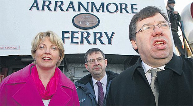 Taoiseach Brian Cowen, Tanaiste Mary Coughlan and Social Protection Minister Eamon O Cuiv set sail for Aranmore in the Donegal South West by-election campaign