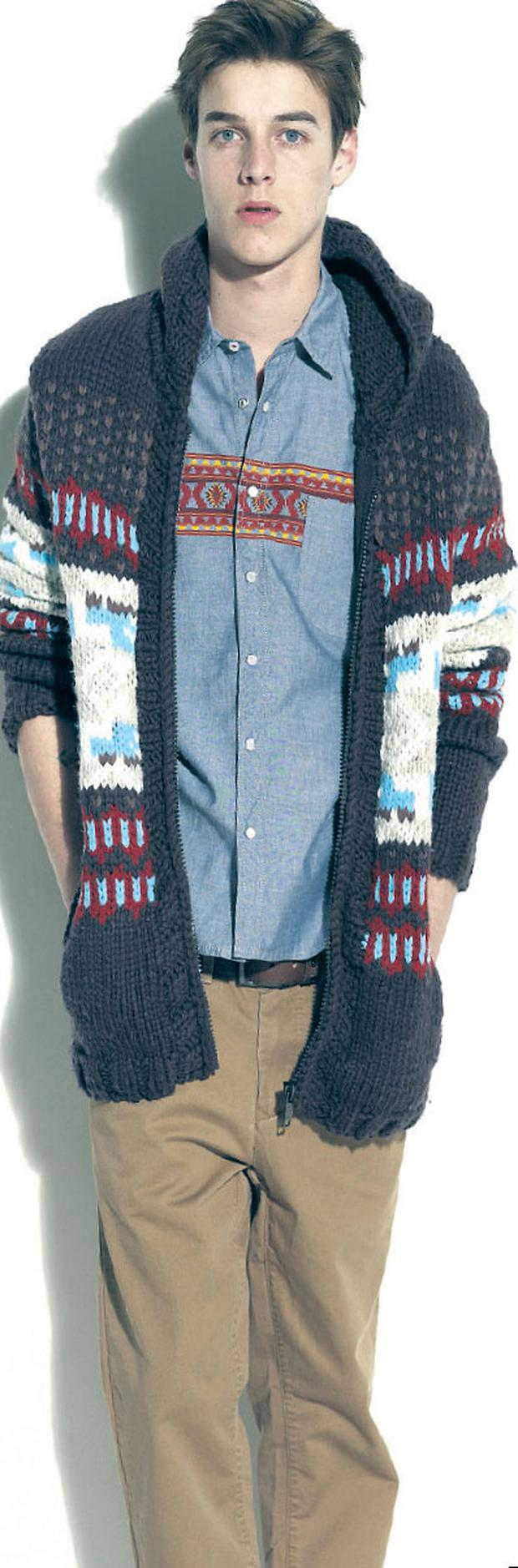 Chunky-knit cardigan, €55, Aztec shirt, €35, and chinos, €35, all New Look