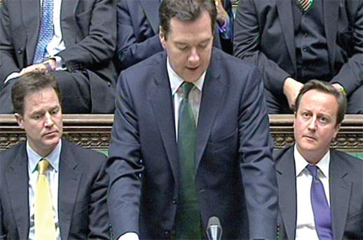 UK Chancellor George Osborne gives a statement on the Irish bailout in the House of Commons