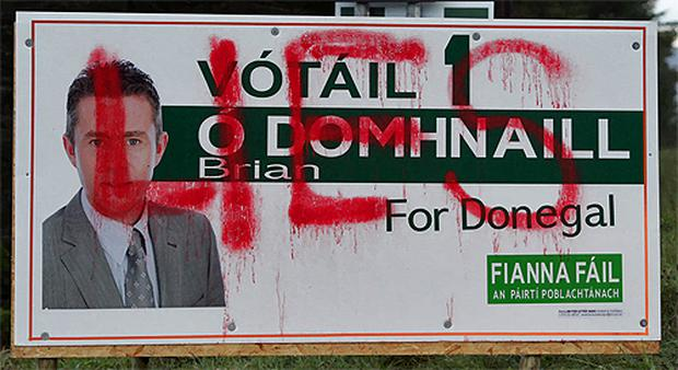 A vandalised Fianna Fail poster in Fintown yesterday