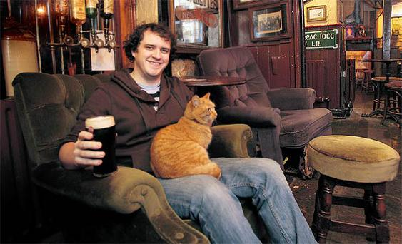 Aidan Coughlan and Raoul in the Harbour Bar in Bray