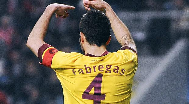 Cesc Fabregas gestures to the bench during Tuesday's Champions League tie with SC Braga. Photo: Getty Images