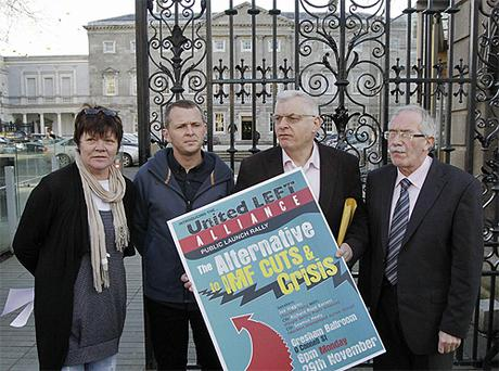 From left, Joan Collins and Richard Boyd Barrett from the People Before Profit Alliance with Joe Higgens MEP from the Socialist Party and Seamus Healy from the Workers Unemployed Action Group. Photo: PA