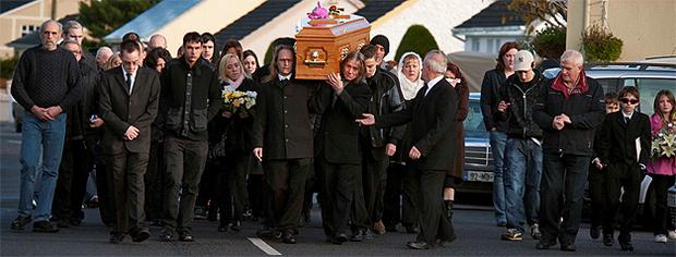 The funeral of Sarah Hines and her children Reece and Amy who were carried from St Patrick's Church, Tournafulla, Co Limerick, in the same coffin