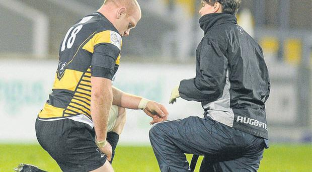 Paul O'Connell receives treatment from physio Vicky Percy at Thomond Park last night. DIARMUID GREENE / SPORTSFILE