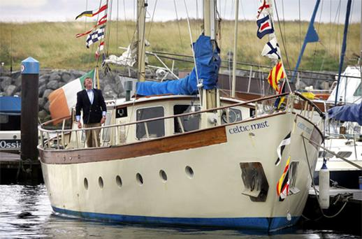 Conor Haughey on board his late father's boat, 'Celtic Mist'