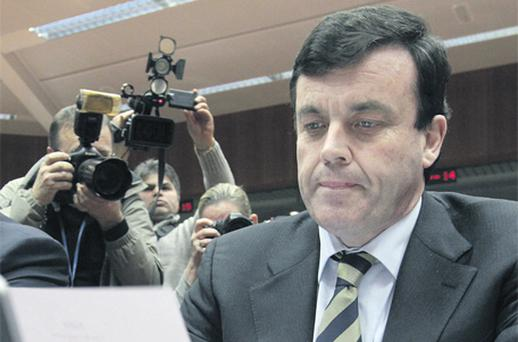 Finance Minister Brian Lenihan at the Brussels meeting last night