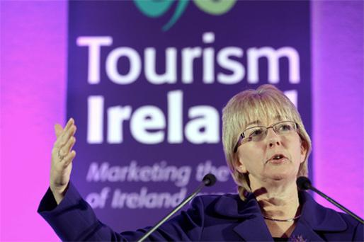 Tourism Minister Mary Hanafin launching details of Tourism Ireland's global marketing strategy for 2011 yesterday