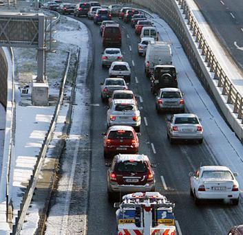 Traffic was held up in the freezing conditions on the Naas Road in Clondalkin, Co Dublin