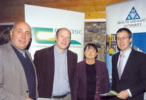 From left, Teagasc Grange's Dr Edward O'Riordan, ICBF livestock geneticist Dr Ross Evans, Dr Bernadette Early, Grange Bioscience Research, and IFA Livestock Committee chairman Michael Doran read up on some information before speaking at the national seminar on Strategies for Improving Safety with Cattle at Teagasc Grange