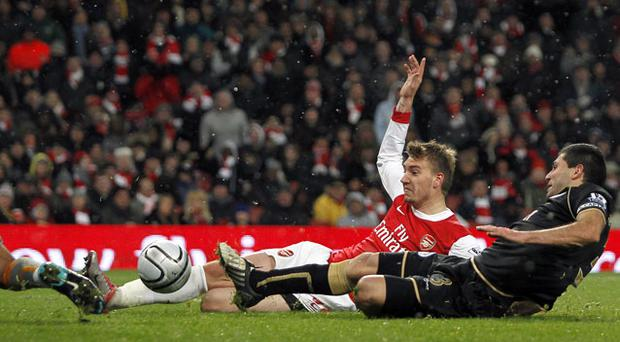 Nicklas Bendtner scored Arsenal's second gola to put them through to the next round of the Carling Cup. Photo: Getty Images