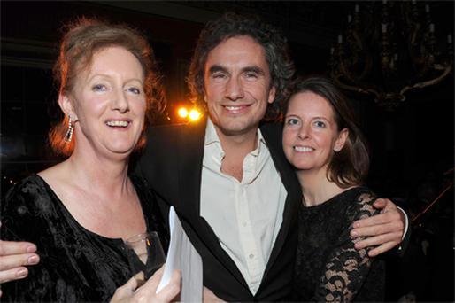 Rowan Somerville with actresses Sarah Crowden (left) and Lucy Beresford at the Bad Sex awards in London