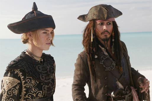 Elizabeth Swann (Keira Knightley) and Captain Jack Sparrow (Johnny Depp), in a scene from 'Pirates of the Caribbean: At World's End'