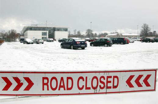 The UCD car park was left almost deserted after the college announced it was closed, due to the weather, until further notice