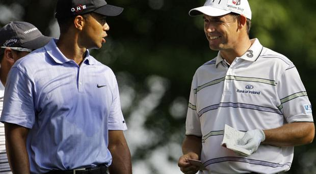 Tiger Woods and Padraig Harrington, seen here during last year's PGA Championship at the Hazeltine National Golf Club, will both be hoping to sign off the year in winning style at their respective tournaments this weekend. Photo: AP
