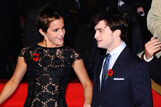 Emma Watson and Daniel Radcliffe at the World Premiere of Harry Potter and The Deathly Hallows : Part One, in London. Photo: PA