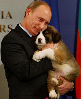 Russia's Prime Minister Vladimir Putin hugs a Bulgarian shepherd dog after receiving it as a present from Bulgaria's Prime Minister, Boiko Borisov