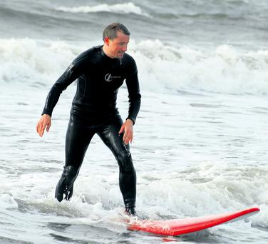 Pol tries out some surfing in Ardmore