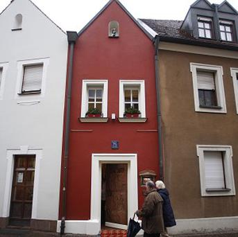 Guests arrive at the tiny Eh'haeusl 'marriage house' hotel in the town of Amberg, Germany