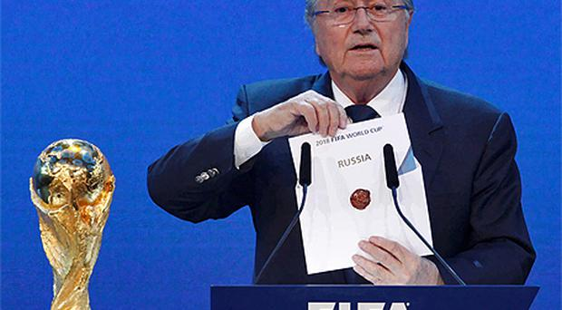 FIFA President Sepp Blatter announces Russia as the host nation for the FIFA World Cup 2018. Photo: Reuters