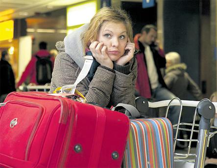 Katelyn Bossert from Springfield, Missouri waits for her flight at Dublin Airport. Photo: PA