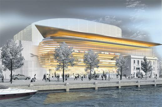 An artist's impression of how the proposed conference centre for Cork city centre will look