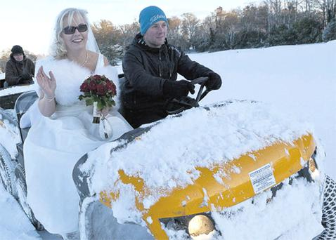 This bride was getting to the church on time, no matter what. Maria Tierney and Ollie Finnegan overcame snow, icy roads and transport problems yesterday to tie the knot in idyllic winter wonderland surroundings at Faithlegg House Hotel in Waterford